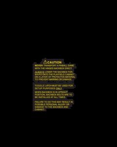 System 11 Warning Text Cabinet Stencil Kit